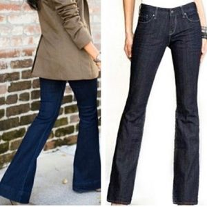 EXPRESS Eva Dark Wash Fit and Flare Wide Jeans 4